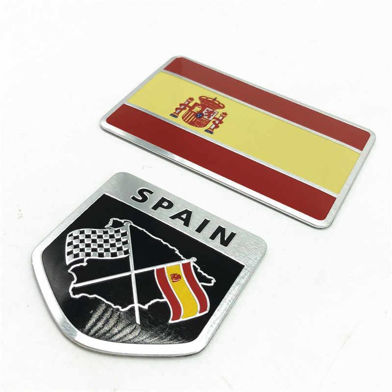 Accessoires de décalque d'insigne d'emblème d'autocollants de voiture de drapeau National de l'espagne de l'alliage d'aluminium 3D pour BMW VW Honda Kia Audi Opel Toyota Suzuki
