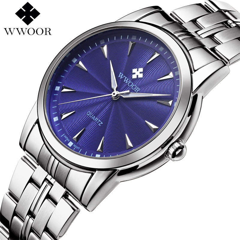 WWOOR Brand Luxury Men's Watch Waterproof Stainless Steel Wristwatch Men Quartz Sports Watches Male Blue Clock relogio masculino