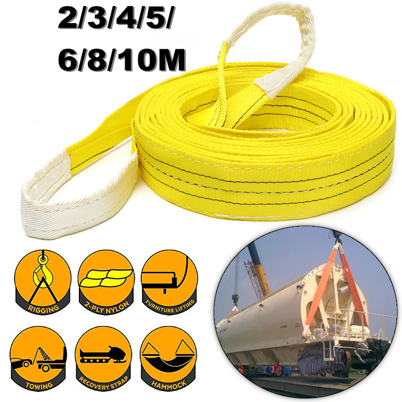 Lifting Sling Pull Load Belt 3Tons Sturdy&Durable Polyester Strap Double Loop Eye Industrial 2/3/4/5/6/8/10m Optional