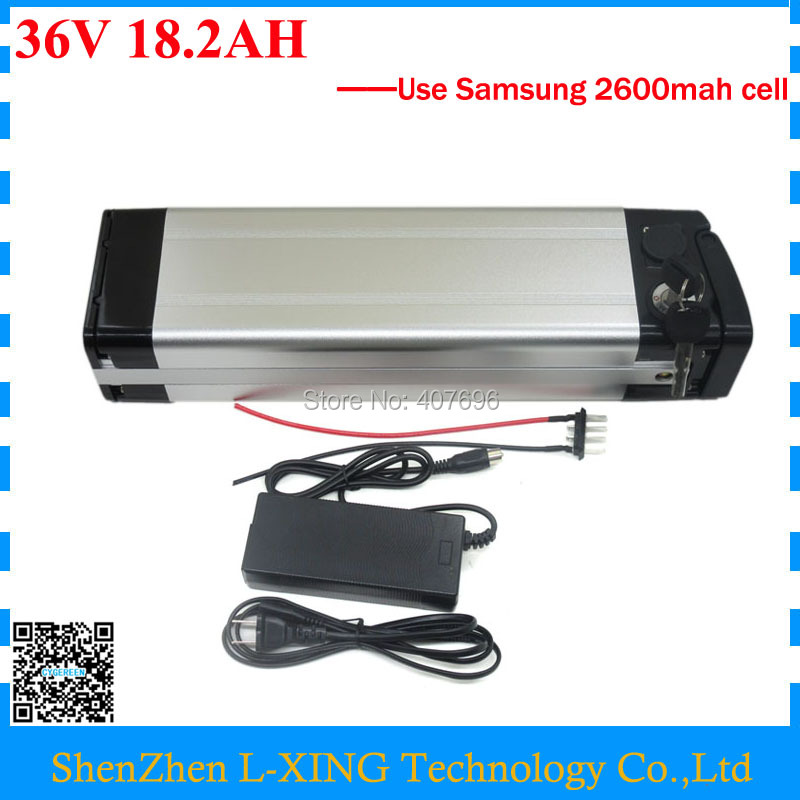 цена на Free customs fee 500W 36V 18.2AH Battery 36 V silver fish battery 18AH lithium battery use Samsung 2600mah cell with 2A Charger
