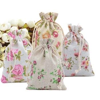 Paquete de 50 bolsas de Favor de yute Rosa Natural con cordón 10x14cm bolsa de arpillera bolsa de Favor de lino para el Favor de la boda bolsa de regalo de yute