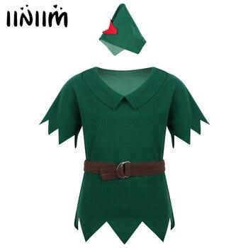 Kinder Jungen Kleidung Robin Haube Outfit Kostüme T-shirt mit Hut Gürtel Halloween Cosplay Party Boy für Phantasie Karneval Kleid Bis