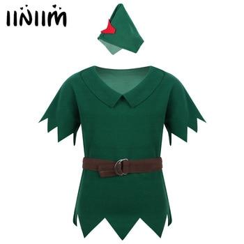 Ropa para niños, ropa para niños, disfraz de Robin Hood, camiseta con cinturón para Halloween, disfraz de Carnaval