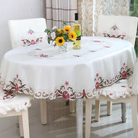 Europe polyester satin jacquard embroidery floral tablecloth lace embroidery waterproof oil home luxury kitchen decoration