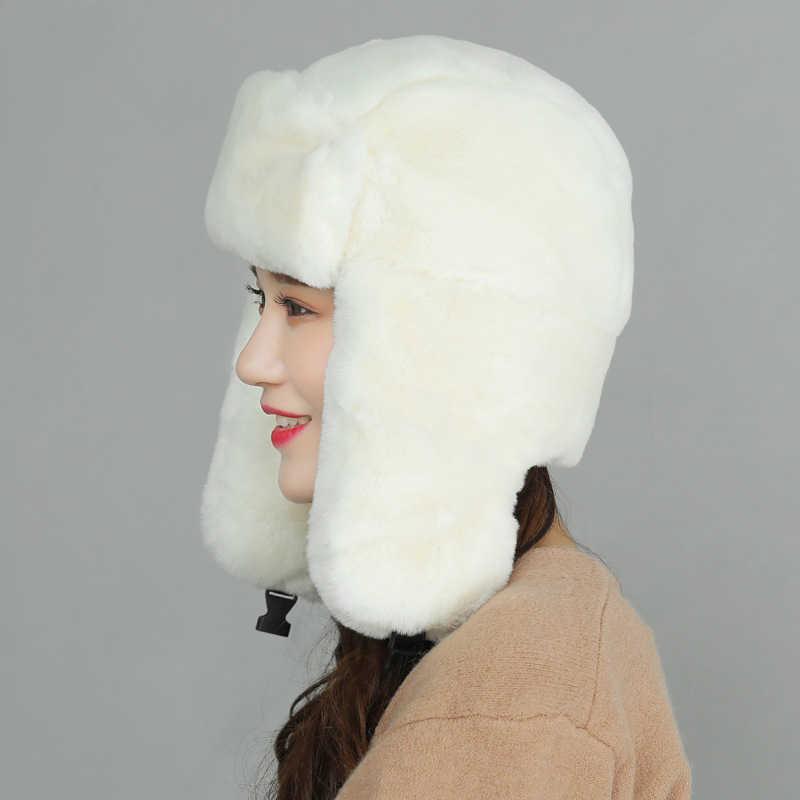 98fc965265f86c ... Winter Women Bomber Hats Men Velvet Warm Thickened Ear Flaps Winter Hats  For Women Russian Bomber ...