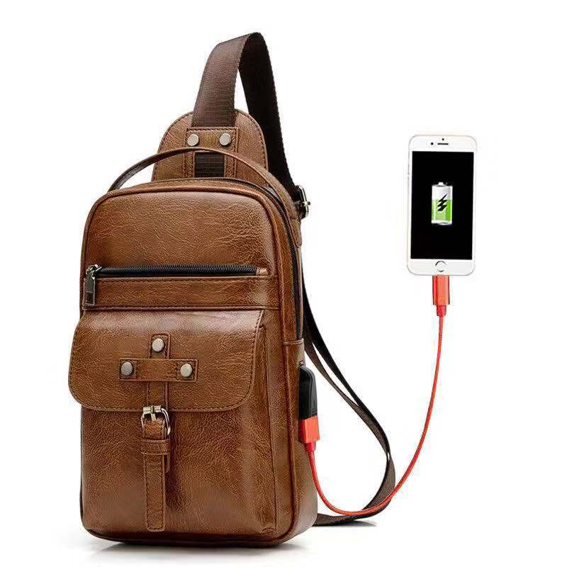 Litthing New Travel Men Crossbody Bag Usb Chest bags Retro  Messenger Leather Bags Diagonal Package Drop shipping