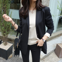 Womens small suit 2019 new autumn temperament casual simple Slim single-breasted long-sleeved black jacket