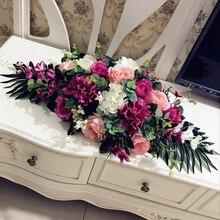 Luxury DIYงานแต่งงานตกแต่งตารางดอกไม้runnerประดิษฐ์ดอกไม้จัดแถวตารางcenterpieces Rose Lily peoniesสีเขียว
