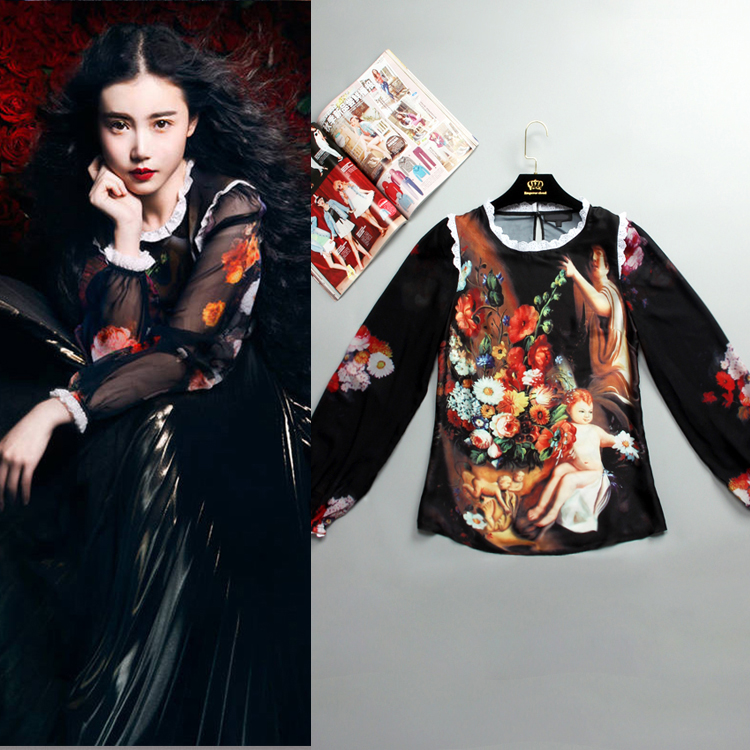 S-XXL Angel Fashion Blouse Jacket Long Sleeved Silk Printing Painting Sexy Coat Plus Size Women 2015 And The New Autumn Runway