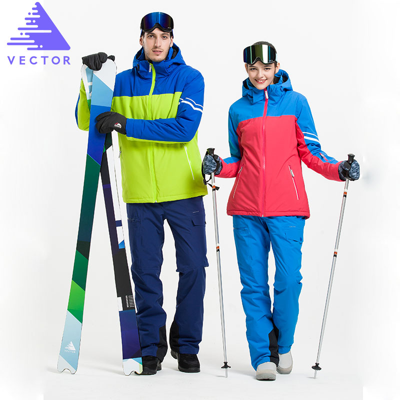 VECTOR Brand Men Women Ski Suits Waterproof Warm Skiing Snowboarding Jackets + Pants Professional Winter Snow Clothing Set