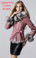 New 2014 Fashion Ladies' Natural Pig Leather with Fox Fur Collar Slim Coat Jackets Winter Women Fur Outerwear Coats Trench
