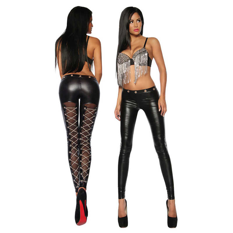 2018 Black New Fashion Women Skinny Pants Transparent Silk Faux Leather Chains Lace-Up Cross Steampunk Sexy Leggings