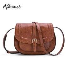 AFKOMST Fashion Crossbody Bag and Small Satchel Purse for Women Vintage Saddle Handbag and Shoulder Bag High Quality CT20154