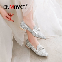 ENMAYER 2019  Mary Janes Low Heel Women Pumps  Square Heel  Sequined Cloth  Round Toe  Heels Women  Casual Size 34-43 LY1746 enmayer 2019 basic low heel women pumps 3 colors solid women fashion mary jane shoes spring autumn size 34 43 ly1931 page 10 page 7