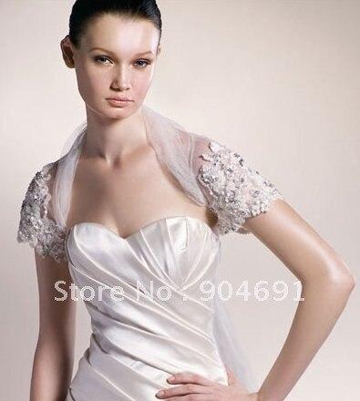 Wholesale instock custom short sleeves jeweled white lace for Beaded short wedding dress