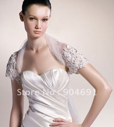 Wholesale Instock Custom Short Sleeves Jeweled White Lace Wedding Dress Accessories - Applique Beaded Bridal Bolero Jacket J9