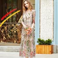 ArtSu Women Casual Dress Spring Two Piece Mesh Maxi Dress Robe 2017 Vintage Embroidery Flower Beach Dresses Vestidos ASDR20452