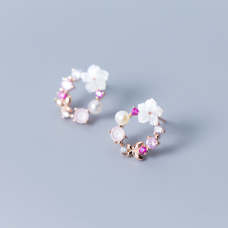 MloveAcc Real 925 Sterling Silver Spring Flower Stud Earrings Pink & Clear CZ Stud Earrings for Women Silver JewelryMloveAcc Real 925 Sterling Silver Spring Flower Stud Earrings Pink & Clear CZ Stud Earrings for Women Silver Jewelry