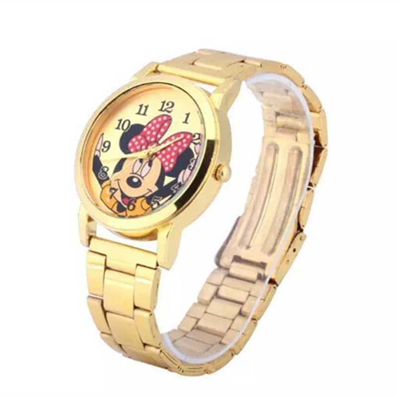 Hot Selling Fashion Mickey Watch Women Full Steel Quartz Ladies Wrist Watches Crystal Fashion Relojes Mujer Girl Student Clock hot unique women watches crystal leather bracelet quartz wrist watch mujer relojes horloge femmes relogio drop shipping f25