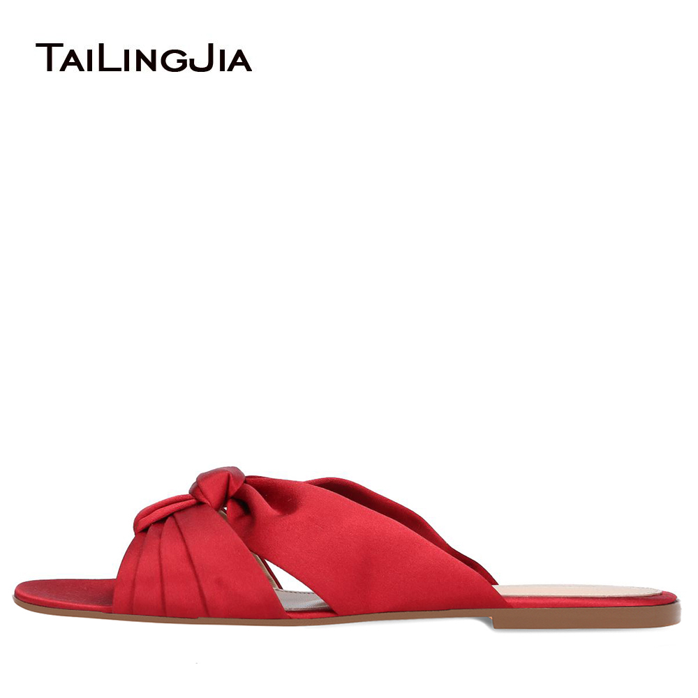 Red Satin Knotted Beach Shoes Women Open Toe Flat Sandals Vacation Shoes Ladies Summer Slides Casual Shoes Large Size 2018