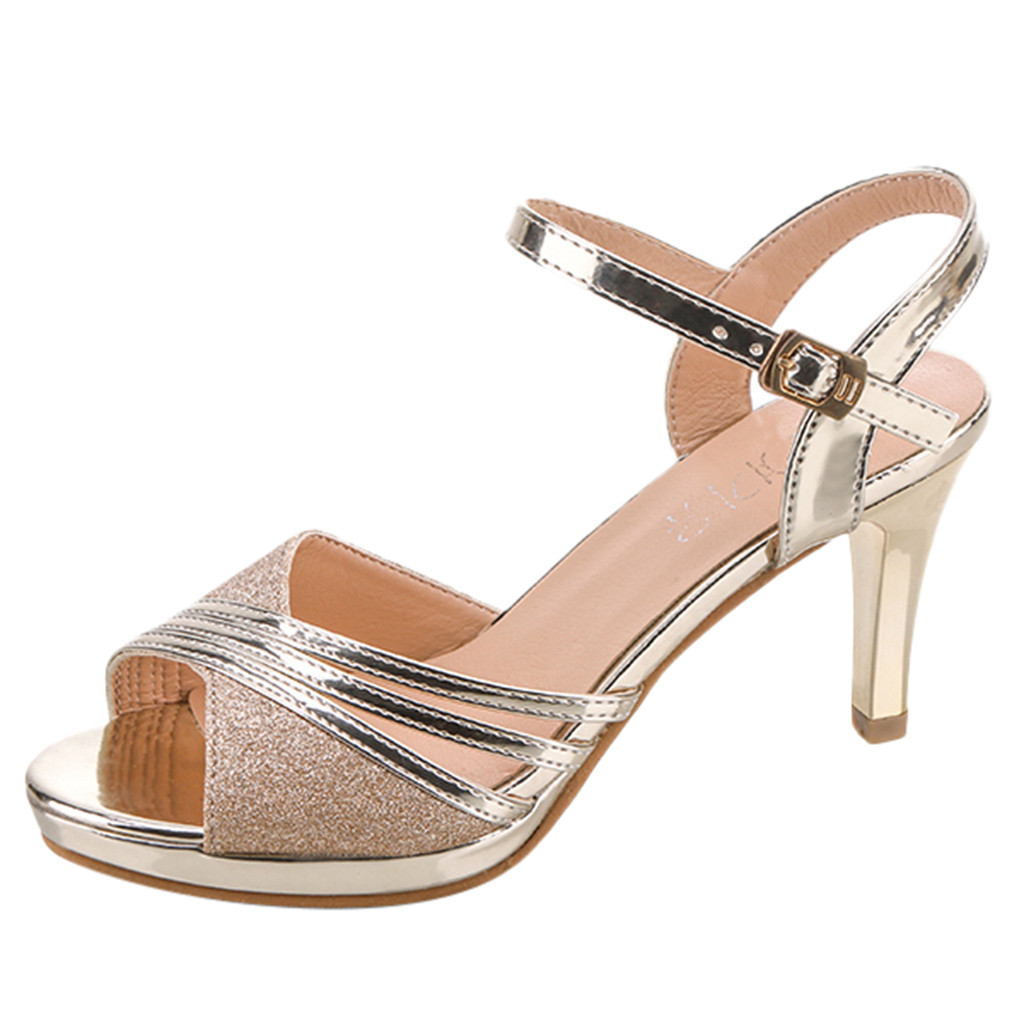 SAGACE Shoes Women Sandals Strap Buckle Rhinestone Sequin High-Heels Sexy Fashion Ladies title=