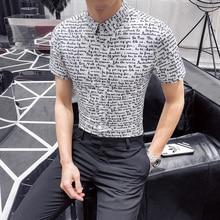 Shirts Social Mens Slim Fit Letter Print Short Sleeve Chemise Homme Roupas Masculinas Camisas Summer 2019