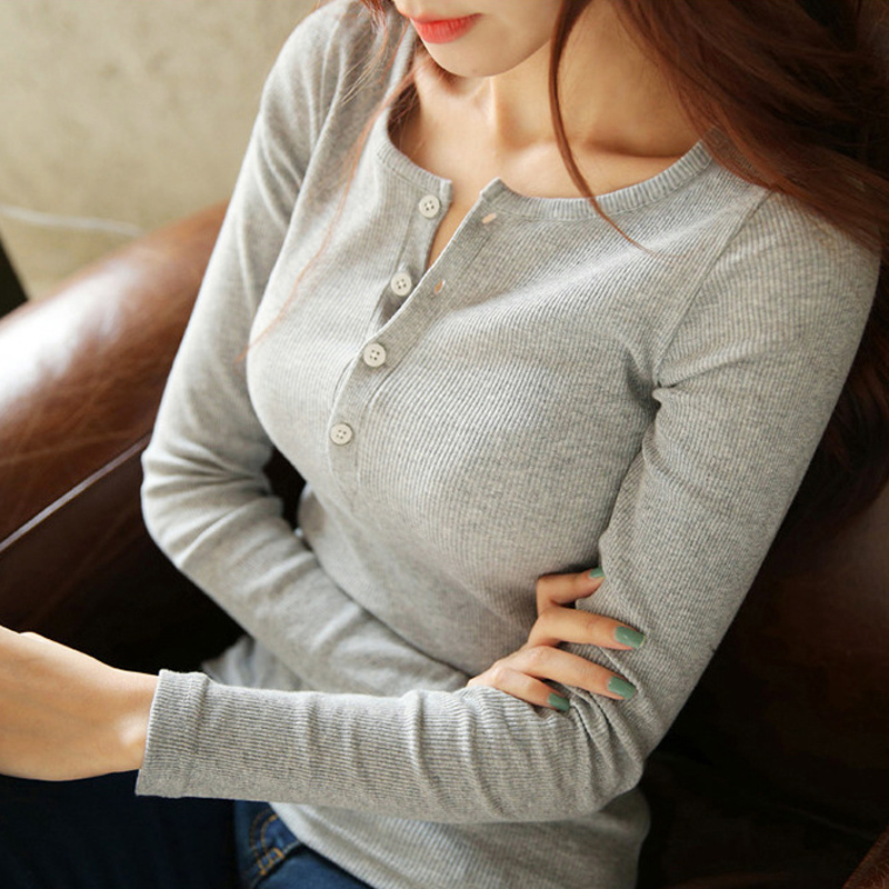 NORMOV Women Blouse Shirt 2019 Casual Long Sleeve Solid Knitted Shirts Lady Slim Bottoming Tops Female Button Pullover Blouse