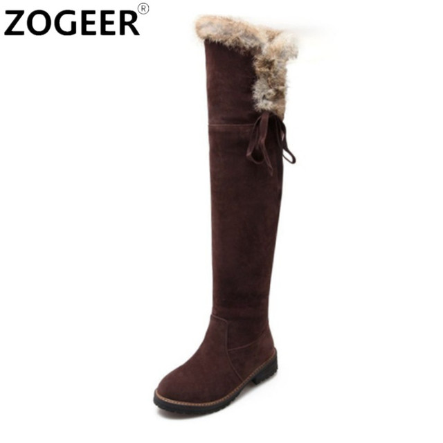 Hot Women Boots 2017 Autumn Winter Ladies Suede Fashion Low heels Women Shoes Knee High Boots Brand Design Warm Snow Boots