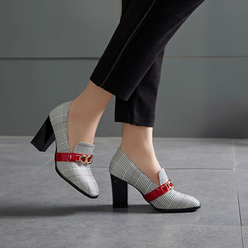 SARAIRIS Chunky Heels Women's Shoes Office Elegant Trendy Sexy Big-Size Lady 48 Pu