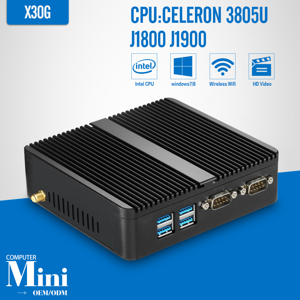 Mini PC J1800 J1900 quad core DDR3 8G RAM 64G SSD mini Computer with 300M WIFI Windows10 Dual LAN Dual RS232 fiscal end aluminum fanless embedded computer with i3 3217u 6com 4g ram onboard 2 intel lan support wake on lan dual 24bit lvds