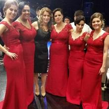 2015 Red V-Neck Sexy Mermaid Long Bridesmaid Dresses Cheap Lace Plus Size Wedding Dress for Women