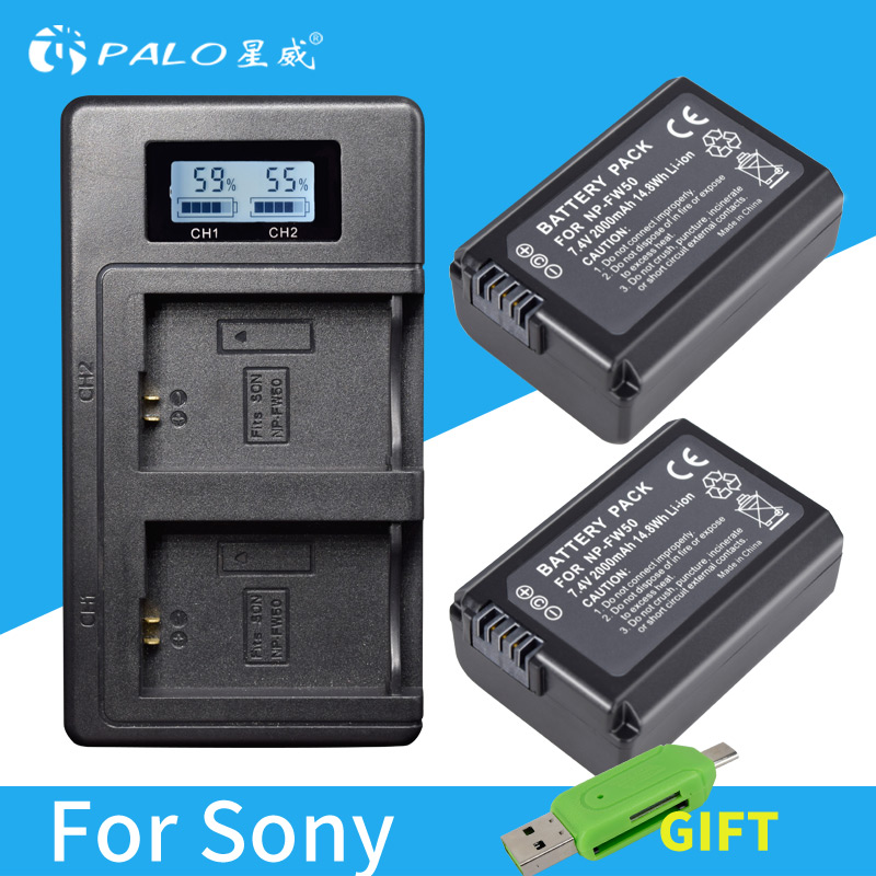 2pc For Sony NP-FW50 NP FW50 FW50 Battery + LCD Charger For Sony A6000 NEX-7 NEX 5N F3 NEX-3D NEX-3DW NEX-3K NEX-5C Alpha 7R II l22 protective nylon carrying bag for sony nex 7n ne 5n nex f3 black blue