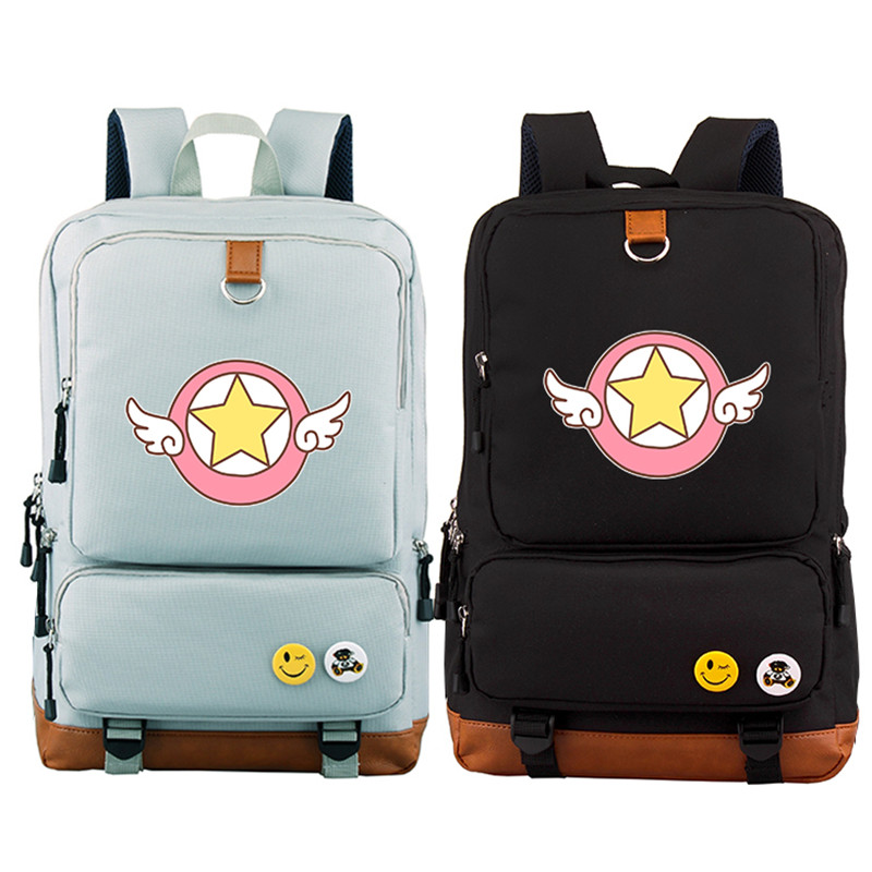 2018 New Preppy Style SAKURA Card Captor Women Backpack Kawaii SAKURA Printing Backpack Canvas School Bags Mochila Feminina japanese comic card captor sakura wings schoold backpack magical card girl sakura cosplay backpack sakura wings bag