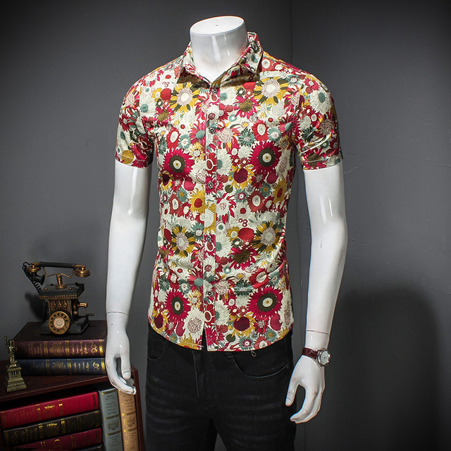 475035fd267 MIXCUBIC 2018 summer College Style unique red Flower printed shirts men  casual slim fit Floral shirts for men size M-5XL