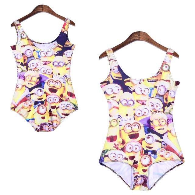 d0e097c90485b Funny Minions 3d Print Women One Piece Bodysuit Backless Slim Swimwear Cute  Girl Cartoon Bodycon Monokinis Sports Suits Newest