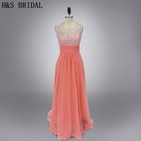 Реальные фото персикового цвета Длинные шифон бисером вечерние платья