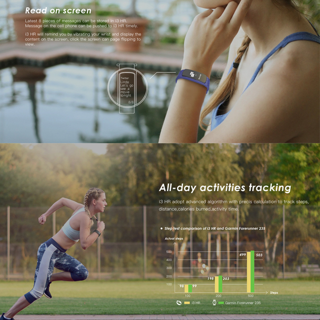 Hot i3 HR Heart Rate Monitor Smart Band Wristband with Fitness Tracker Sport Smartband Bracelet Smart Wristband for IOS android