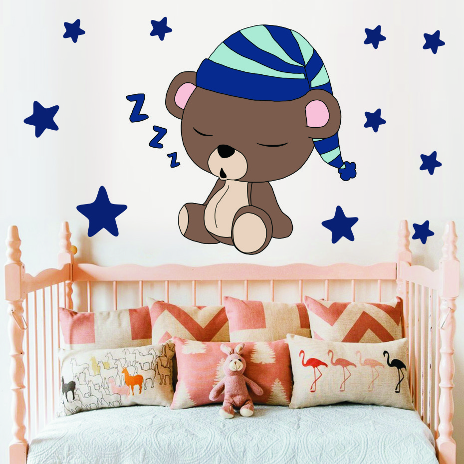 Cute Sleeping Bear with Stars Wall Decals Children's Kids Cartoon DIY Art Vinyls Stickers Bedroom Home Decor Mural Wallpaper (4)