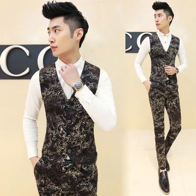 2016 Fashion Floral Print Mens Luxury Suit Vest Royal Party Club Trendy Slim Fit Vests Men Button Up Tops Gold Chaleco Hombre