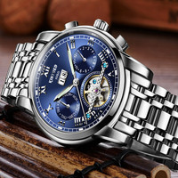 KINYUED Moon Phase Tourbillon Mechanical Watch Mens Top Brand Luxury Automatic Self Wind Watches Full Steel