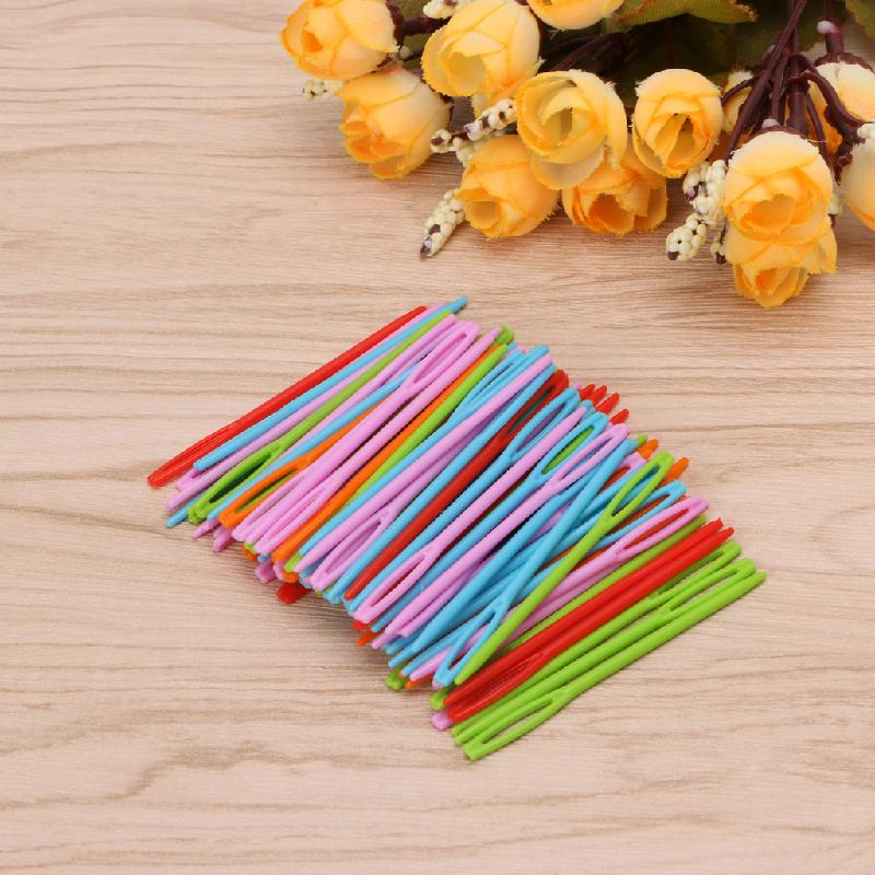 Image 2 - 2019 New 100Pcs Children Colorful Plastic 7cm Needles Tapestry Binca Sewing Wool Yarn DIY-in Sewing Needles from Home & Garden