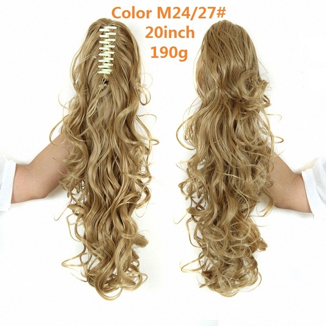 Blonde Black Brown Long Wavy Heat Resistant Synthetic Claw Clip In