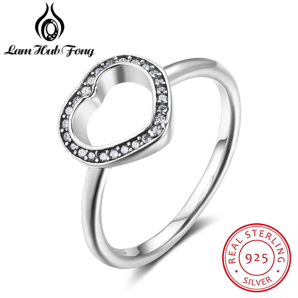Vintage Solid 925 Sterling Silver Rings For Women Clear CZ Love Heart Rings Wedding Gifts Silver 925 Jewelry (Lam Hub Fong)