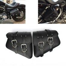105df2ae1 Bolso de la motocicleta para Sportster XL 883 1200 alforjas motocicleta X2  cuero de la Pu de la motocicleta bolsa de herramienta.