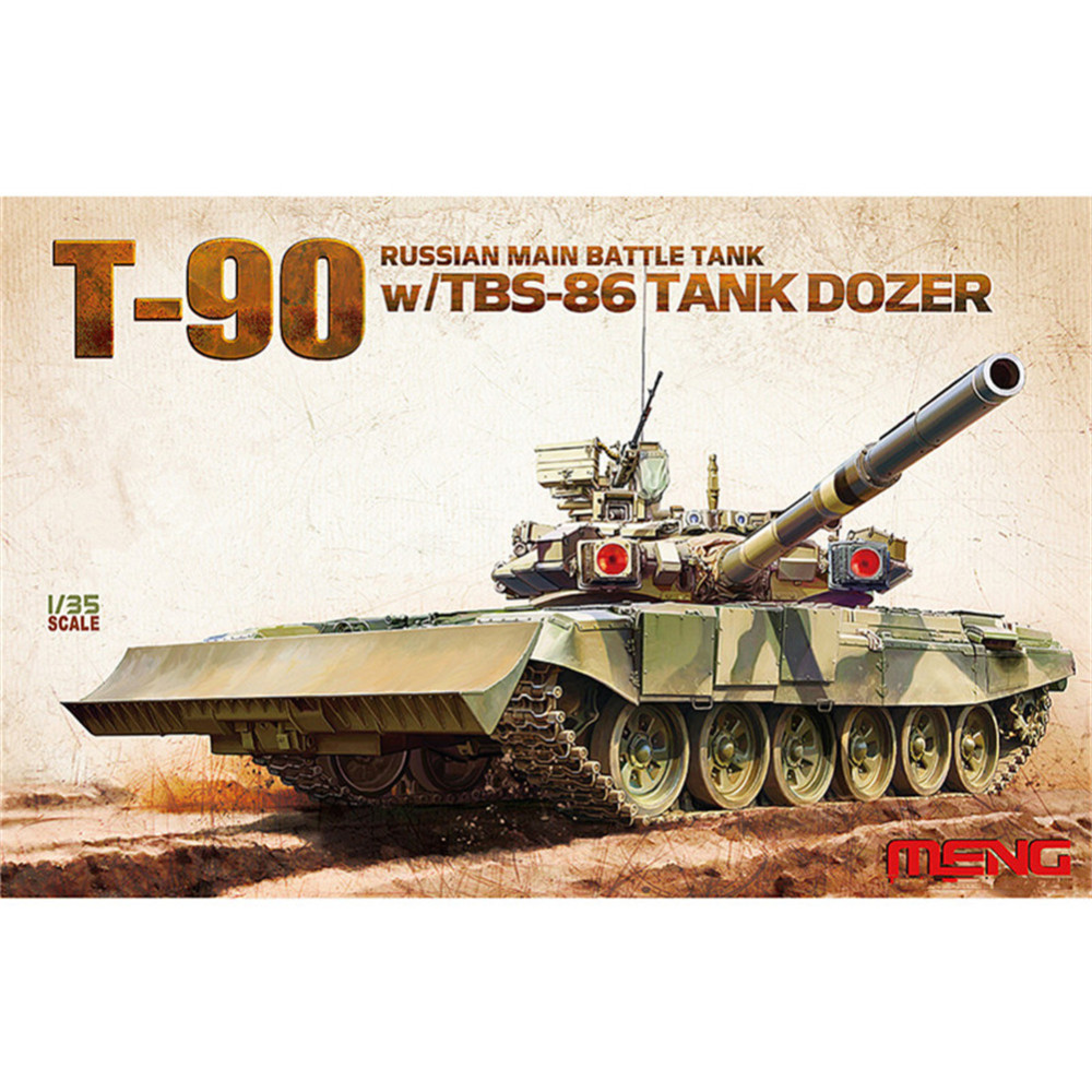 OHS Meng TS014 1/35 Russian T90 Main Battle Tank w/TBS-86 Tank Dozer AFV Model Building Kits ohs meng ts015 1 35 german main battle tank leopard 1 a5 military afv model building kits