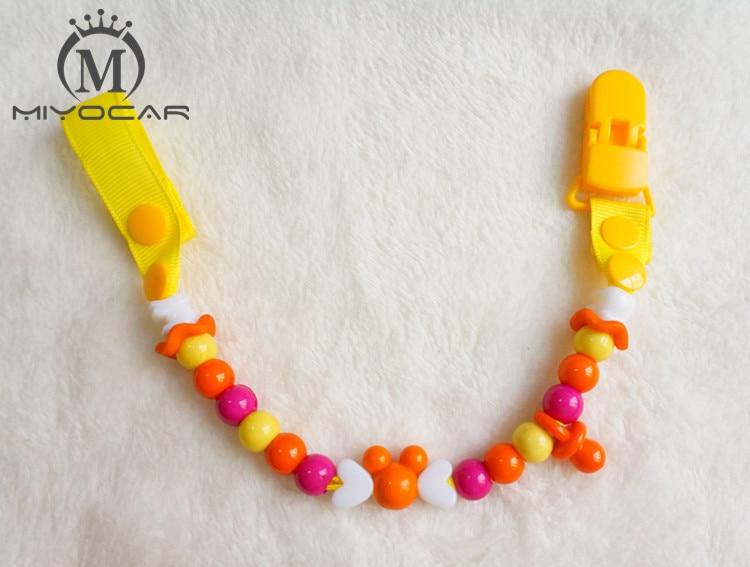 MIYOCAR Baby sikker farverige sjove perler håndlavede pacifier kæde / pacifier klip / Dummy clip / Tethers clip / pacifier holder