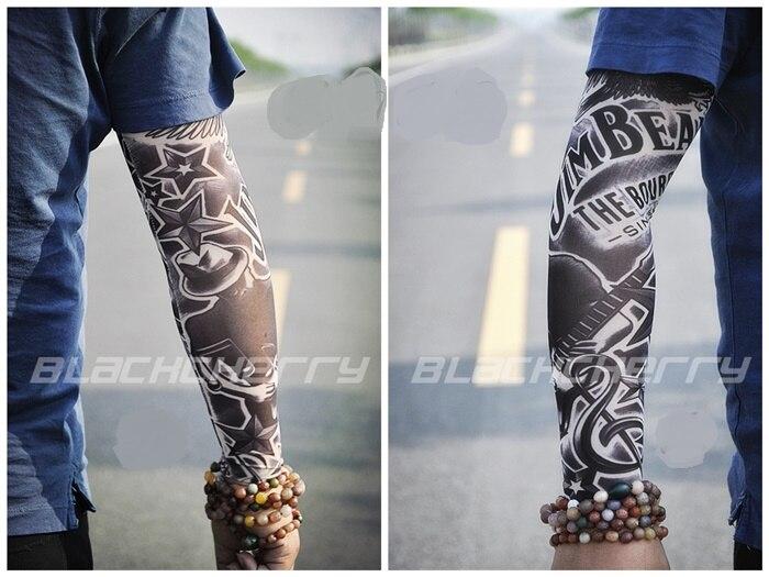 20 Kinds Buy 1 Get 1 Free Rock Arm Warmers Fingerless Gloves Pulseiras De Couro Hand Warmer UV Sleeve Tattoo Punk Metal