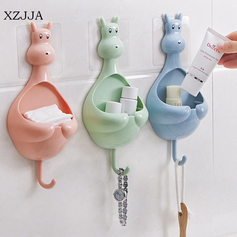 XZJJA Creative Animal Design Sucker Cup Storage Toothbrush Holder Soap Rack Hooks Bathroom Organizer Storage Box Holder Shelf ...