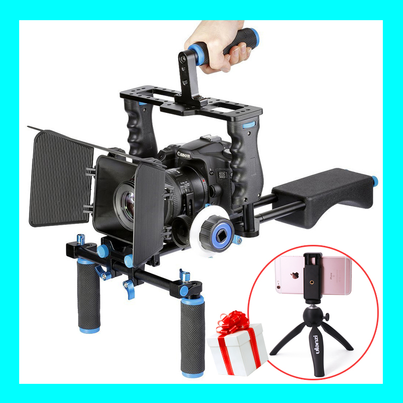 DSLR Camera Video Stabilizer Shoulder Mount Rig+Matte Box+Follow Focus+Cage for Canon  Nikon Sony DSLR Camera Camcorder 2016 new koolertron hand grip handle shoulder mount rig follow focus adjust platform matte box sunshade for dslr cannon nikon