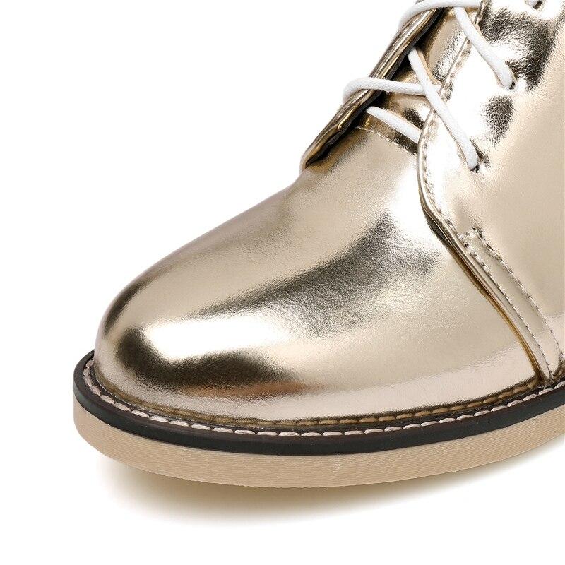 Bout 2019 Or black 0 Automne Argent Bottes Femelle 1 silver Cheville gold Martins Hiver Lady 1 gold Taille black 45 Richelieu 0 Femmes Appartements Plus À Chaussures 1 Lacets Pointu Silver 0 m8wNn0
